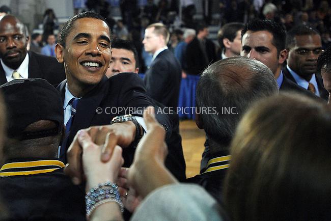 WWW.ACEPIXS.COM . . . . . ....April 9 2008, Malvern PA....Democratic presidential candidate Sen. Barack Obama addressed a Town Hall meeting at the Great Valley High School.....Please byline: KRISTIN CALLAHAN - ACEPIXS.COM.. . . . . . ..Ace Pictures, Inc:  ..(646) 769 0430..e-mail: info@acepixs.com..web: http://www.acepixs.com