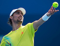 FABIO FOGNINI..Tennis - Apia Sydney International -  Sydney 2013 -  Olympic Park - Sydney - NSW - Australia.Tuesday 8th January  2013. .© AMN Images, 30, Cleveland Street, London, W1T 4JD.Tel - +44 20 7907 6387.mfrey@advantagemedianet.com.www.amnimages.photoshelter.com.www.advantagemedianet.com.www.tennishead.net
