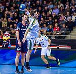 Patrick WIESMACH (#4 SC DHfK Leipzig) \ beim Spiel in der Handball Bundesliga, SG BBM Bietigheim - SC DHfK Leipzig.<br /> <br /> Foto &copy; PIX-Sportfotos *** Foto ist honorarpflichtig! *** Auf Anfrage in hoeherer Qualitaet/Aufloesung. Belegexemplar erbeten. Veroeffentlichung ausschliesslich fuer journalistisch-publizistische Zwecke. For editorial use only.