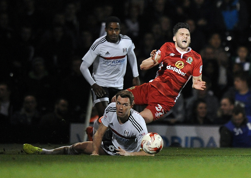 Blackburn Rovers' Craig Conway is fouled by Fulham's Kevin McDonald<br /> <br /> Photographer /Ashley WesternCameraSport<br /> <br /> The EFL Sky Bet Championship - Fulham v Blackburn Rovers - Tuesday 14th March 2017 - Craven Cottage - London<br /> <br /> World Copyright &copy; 2017 CameraSport. All rights reserved. 43 Linden Ave. Countesthorpe. Leicester. England. LE8 5PG - Tel: +44 (0) 116 277 4147 - admin@camerasport.com - www.camerasport.com