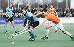 WASSENAAR - Hoofdklasse hockey heren, HGC-Bloemendaal (0-5)  Willem Rath (HGC)  met Thierry Brinkman (Bldaal)      COPYRIGHT KOEN SUYK