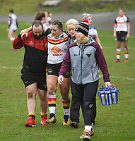 Picture by Anna Gowthorpe/SWpix.com - 15/04/2018 - Rugby League - Womens Super League - Bradford Bulls v Leeds Rhinos - Coral Windows Stadium, Bradford, England - Bradford Bulls' Jess Courtman leaves the pitch injured