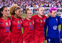 PHILADELPHIA, PA - AUGUST 29: Christen Press #23, Casey Short #26, Kristen Hamilton #25 and Becky Sauerbrunn #4 of the United States huddle during a game between Portugal and the USWNT at Lincoln Financial Field on August 29, 2019 in Philadelphia, PA.