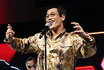 January 18, 2017, Tokyo, Japan - Japanese singer-songwriter Pikotaro performs dancing of his mega hit song PPAP for a promotion of Japanese mobile communication service Y!mobile, a subsidiary of Japanese telecom giant Softbank in Tokyo on Wednesday, January 18, 2017. Pikotaro announced he would have a concert at Tokyo's Budokan Hall in March.   (Photo by Yoshio Tsunoda/AFLO) LWX -ytd