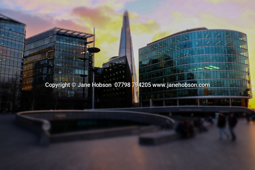 London, UK. 07.04.2015. View of the Scoop, at More London, with the Shard in the background. Tilt/shift effect filter applied. Photograph © Jane Hobson.