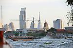 Water traffic on the Chao Phraya in Bangkok, Thailand