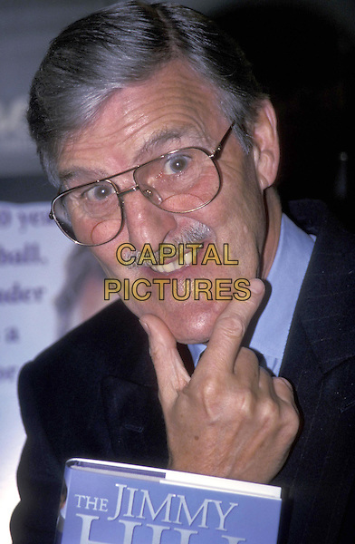 JIMMY HILL.At Harrods for book launch,.London,.15 October 1998.portrait headshot chin gesture glasses book.ref:7828.www.capitalpictures.com.sales@capitalpictures.com.©Capital Pictures