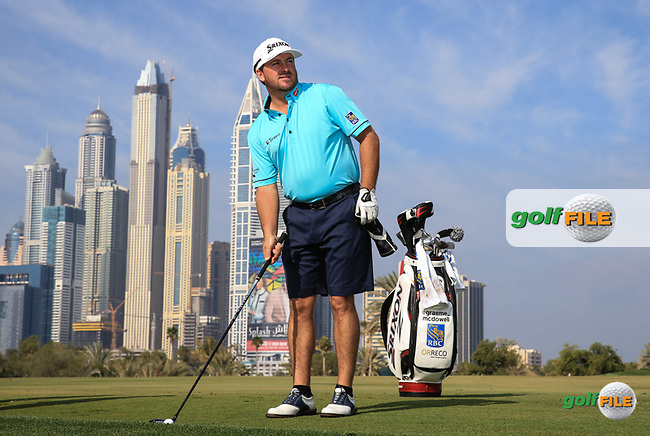 Graeme McDowell (NIR) on the 13th fairway during the Pro-Am at the 2016 Omega Dubai Desert Classic, played on the Emirates Golf Club, Dubai, United Arab Emirates.  03/02/2016. Picture: Golffile   David Lloyd<br /> <br /> All photos usage must carry mandatory copyright credit (&copy; Golffile   David Lloyd)