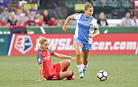 Portland, OR - Saturday August 19, 2017: Amber Brooks, Dagný Brynjarsdóttir during a regular season National Women's Soccer League (NWSL) match between the Portland Thorns FC and the Houston Dash at Providence Park.