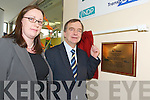 Blaithin McElligott (Manager of the Station) and Martin Cullen, Minister for Transport TD during the.official opening of the Bus Eireann Bus Station in Tralee on Monday.
