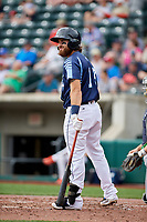Columbus Clippers catcher Eric Haase (13) at bat during a game against the Gwinnett Stripers on May 17, 2018 at Huntington Park in Columbus, Ohio.  Gwinnett defeated Columbus 6-0.  (Mike Janes/Four Seam Images)