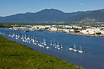 Aerial view of boats in Trinity Inlet with Portsmith industrial area in background.  Cairns, Queensland, Australia
