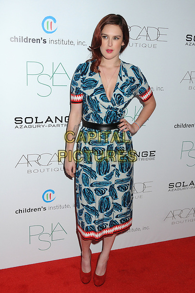 Rumer Willis.ARCADE Boutique's 2nd Annual Autumn Party held at The London West Hollywood Hotel, West Hollywood, California, USA..26th October 2011.full length dress blue white grey gray cleavage red print hand on hip shoes trim belt black.CAP/ADM/BP.©Byron Purvis/AdMedia/Capital Pictures.