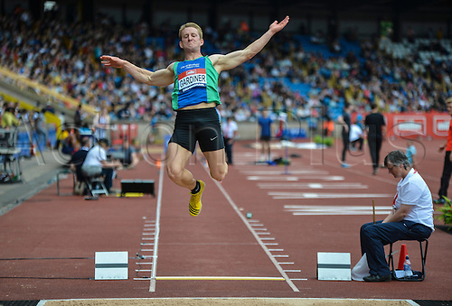 26.06.2016. Alexander Stadium, Birmingham, England. British Athletics Championships. Daniel Gardiner jumping to 1st place in the Long Jump.