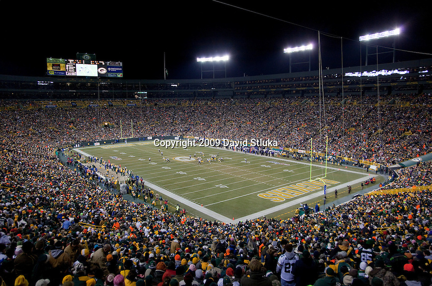 A general view of Lambeau Field during the Green Bay Packers NFL Monday Night Football game against the Baltimore Ravens at Lambeau Field in Green Bay, Wisconsin on December 7, 2009. The Packers won 27-14. (AP Photo/David Stluka)