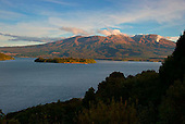 Looking across Lake Rotoaira & Motuopuhi Island to Mount Tongariro. Steam from the Ketetahi Hot Springs can be seen to the right Central North Island, New Zealand