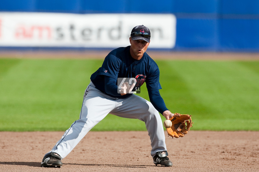 14 September 2009: Shortstop Brant Ust of Great Britain eyes the ball on defense during the 2009 Baseball World Cup Group F second round match game won 15-5 by South Korea over Great Britain, in the Dutch city of Amsterdan, Netherlands.
