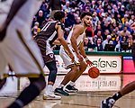 18 December 2018: University of Vermont Catamount Forward Isaiah Moll, a Freshman from Albany, NY, in first-half action against the St. Bonaventure University Bonnies at Patrick Gymnasium in Burlington, Vermont. The Catamounts defeated the Bonnies 83-76 in a double-overtime NCAA DI game. Mandatory Credit: Ed Wolfstein Photo *** RAW (NEF) Image File Available ***