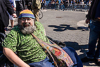 New York, USA - Marijuana advocates rally in Union Square to demand a legal market for cannabis in New York City and what they call the end to the use of drug law as a tool for social control and mass incarceration.  Yippie Pieman Aron Kay organizer of the annual march. ©Stacy Walsh Rosenstock
