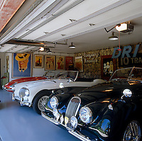 A specially built garage houses Malcolm McDowell's collection of vintage sports cars