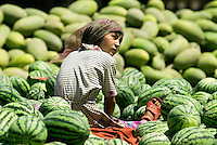 An abundance of fruits are available at markets in Kashgar during the summer growing season.