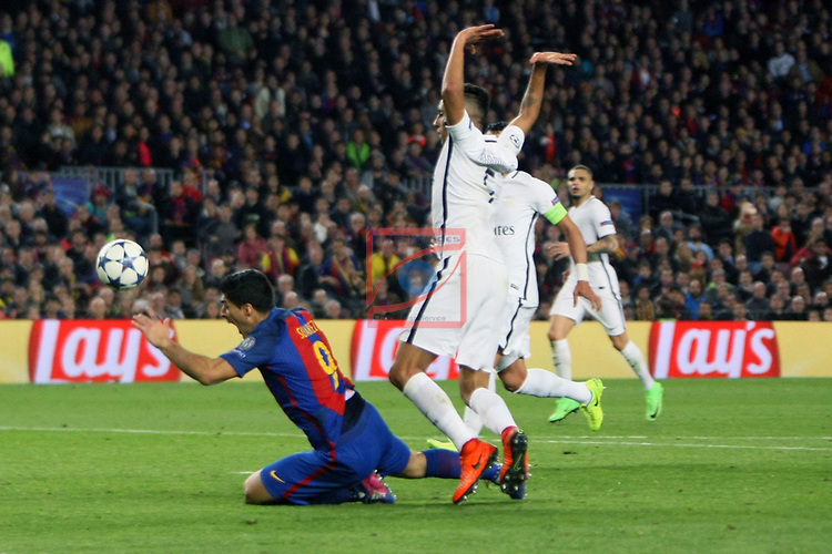 UEFA Champions League 2016/2017.<br /> Round of 16 2nd leg<br /> FC Barcelona vs Paris Saint-Germain: 6-1.<br /> Luis Suarez vs Marquinhos.