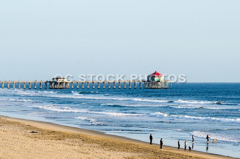 Tourists on the Beach at Huntington Beach Pier