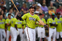 Brett Cumberland of the Rome Braves participates in the Home Run Derby as part of of the South Atlantic League All-Star Game festivities on Monday, June 19, 2017, at Spirit Communications Park in Columbia, South Carolina. (Tom Priddy/Four Seam Images)