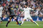 Isco Alarcon of Real Madrid fights for the ball with Pablo Daniel Piatti of RCD Espanyol  during the match Real Madrid vs RCD Espanyol, a La Liga match at the Santiago Bernabeu Stadium on 18 February 2017 in Madrid, Spain. Photo by Diego Gonzalez Souto / Power Sport Images