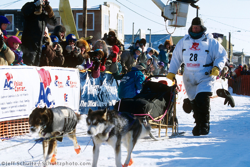 1995 Iditarod Sled Dog Race Champion Doug Swingley in finish chute Nome, Alaska