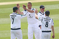 Kyle Abbott of Hampshire is congratulated by his team mates after taking the wicket of Daniel Lawrence during Essex CCC vs Hampshire CCC, Specsavers County Championship Division 1 Cricket at The Cloudfm County Ground on 20th May 2017