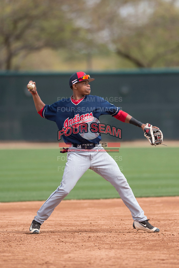 Cleveland Indians second baseman Jose Tena (29) during a Minor League Spring Training game against the Chicago White Sox at Camelback Ranch on March 16, 2018 in Glendale, Arizona. (Zachary Lucy/Four Seam Images)
