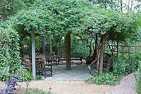 65821-00310 Gathering Circle with benches and arbor at North Carolina Botanical Garden, Chapel Hill, NC