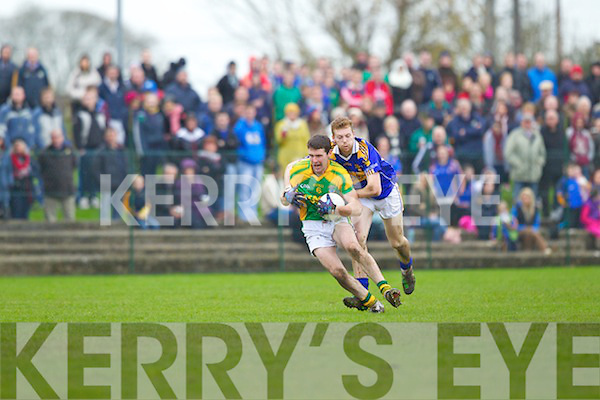 Conor Fitmaurice of Finuge shakes of a tackle from Tony McMahon of Pallasgreen in the AIB Munster Club Intermediate Football Champonship Semi Final last Sunday in Bruff, Co Limerick.