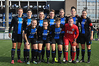 20191026 – Brugge, BELGIUM : Brugge's team with Ianthe Meerschaert (GC)   Ellen Martens (2)   Febe Vanhaecke (3)   Emma Van Britsom (4)   Raquel Viaene (5)   Elle Decorte (7)   Chelsey Vanhooren (14)   Charlotte Laridon (15) Frieke Temmerman (17)   Isabelle Iliano (18)   Debbie Decoene (21) pictured during a women soccer game between Club Brugge Dames and Standard Femina de Liege on the seventh matchday of the Belgian Superleague season 2019-2020 , the Belgian women's football  top division , Saturday 26 th October 2019 at the synthetic terrain 4 at the Jan Breydel site in Brugge  , Belgium  .  PHOTO SPORTPIX.BE | DIRK VUYLSTEKE