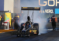 Jul. 25, 2014; Sonoma, CA, USA; NHRA top fuel driver Troy Buff during qualifying for the Sonoma Nationals at Sonoma Raceway. Mandatory Credit: Mark J. Rebilas-