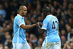 Vincent Kompany of Manchester City receives the captains armband from Yaya Toure - Manchester City vs Sunderland - Barclays Premier League - Etihad Stadium - Manchester - 26/12/2015 Pic Philip Oldham/SportImage