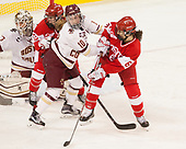 Katie Burt (BC - 33), Natasza Tarnowski (BU - 13), Kali Flanagan (BC - 10), Deziray De Sousa (BU - 8) - The Boston College Eagles defeated the visiting Boston University Terriers 5-3 (EN) on Friday, November 4, 2016, at Kelley Rink in Conte Forum in Chestnut Hill, Massachusetts.The Boston College Eagles defeated the visiting Boston University Terriers 5-3 (EN) on Friday, November 4, 2016, at Kelley Rink in Conte Forum in Chestnut Hill, Massachusetts.