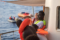 Sea Watch-2.<br /> Die Sea Watch-2 bei ihrer 13. SAR-Mission vor der libyschen Kueste.<br /> Im Bild: Gefluechtete an Bord der Sea Watch-2.<br /> 21.10.2016, Mediterranean Sea<br /> Copyright: Christian-Ditsch.de<br /> [Inhaltsveraendernde Manipulation des Fotos nur nach ausdruecklicher Genehmigung des Fotografen. Vereinbarungen ueber Abtretung von Persoenlichkeitsrechten/Model Release der abgebildeten Person/Personen liegen nicht vor. NO MODEL RELEASE! Nur fuer Redaktionelle Zwecke. Don't publish without copyright Christian-Ditsch.de, Veroeffentlichung nur mit Fotografennennung, sowie gegen Honorar, MwSt. und Beleg. Konto: I N G - D i B a, IBAN DE58500105175400192269, BIC INGDDEFFXXX, Kontakt: post@christian-ditsch.de<br /> Bei der Bearbeitung der Dateiinformationen darf die Urheberkennzeichnung in den EXIF- und  IPTC-Daten nicht entfernt werden, diese sind in digitalen Medien nach §95c UrhG rechtlich geschuetzt. Der Urhebervermerk wird gemaess §13 UrhG verlangt.]