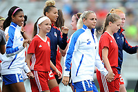 Boyds, MD - Saturday August 12, 2017: Margaret Purce, Estelle Johnson, Adriana Leon, Tori Huster during a regular season National Women's Soccer League (NWSL) match between the Washington Spirit and The Boston Breakers at Maureen Hendricks Field, Maryland SoccerPlex.