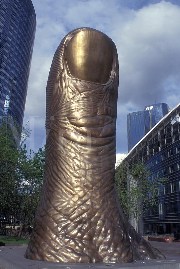 AJ0789, Paris, France, Europe, La Defense, Thumb sculpture at La Defense, Financial District of Paris.