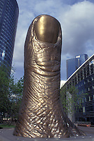 AJ0789, Paris, France, Europe, La Defense, Thumb sculpture at La Defense, Financial District of Paris.