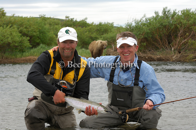 In grizzly bear territory, a rainbow trout from Alaska
