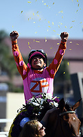 DEL MAR, CA - NOVEMBER 04: Mike Smith, aboard Caledonia Road #12, celebrates after winning the 14 Hands Winery Breeders' Cup race on Day 2 of the 2017 Breeders' Cup World Championships at Del Mar Racing Club on November 4, 2017 in Del Mar, California. (Photo by Bob Mayberger/Eclipse Sportswire/Breeders Cup)