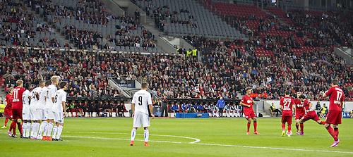 27.08.2014. Leverkusen, Germany. UEFA Champions League qualification match. Bayer Leverkusen versus FC Copenhagen. Goal for 2:0 scored by Hakan Calhanoglu (Bayer)