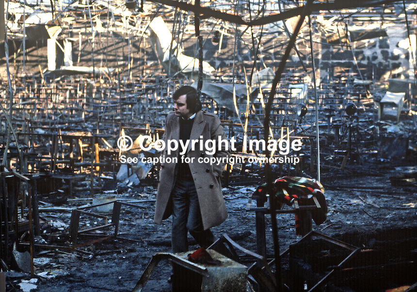 Stardust Fire Tragedy, Stardust Nightclub, Artane, Dublin, Ireland, early hours, 14th February 1981, Valentine's Day, in which 48 died and 214 were injured - the Stardust's floor manager, Felim Kinnehan, surveys the scene of devastation.  198102140002..Copyright Image from Victor Patterson, 54 Dorchester Park, Belfast, United Kingdom, UK...For my Terms and Conditions of Use go to http://www.victorpatterson.com/Victor_Patterson/Terms_%26_Conditions.html