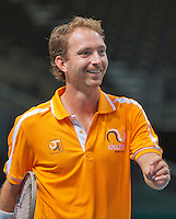 Switserland, Genève, September 16, 2015, Tennis,   Davis Cup, Switserland-Netherlands, Practise Dutch team, Matwe Middelkoop<br /> Photo: Tennisimages/Henk Koster