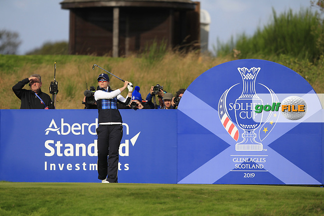 Jodi Ewart Shadoff of Team Europe on the 6th tee during Day 1 Foursomes at the Solheim Cup 2019, Gleneagles Golf CLub, Auchterarder, Perthshire, Scotland. 13/09/2019.<br /> Picture Thos Caffrey / Golffile.ie<br /> <br /> All photo usage must carry mandatory copyright credit (© Golffile   Thos Caffrey)