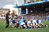 The Bath pack practise their scrummaging during the pre-match warm-up. Amlin Challenge Cup Final, between Bath Rugby and Northampton Saints on May 23, 2014 at the Cardiff Arms Park in Cardiff, Wales. Photo by: Patrick Khachfe / Onside Images