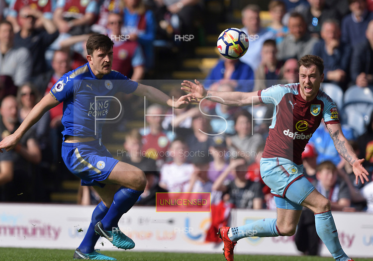 14/04/2018 Premier League Burnley v Leicester City<br /> <br /> Ashley Barnes appeals for a foul